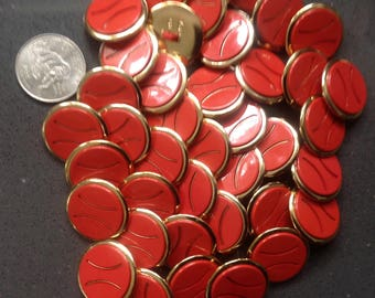 """7/8"""" button lot - red (40) or  white (40)"""