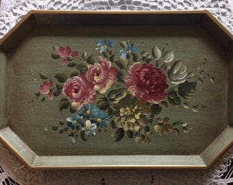 Vintage Hand Painted Country French Toleware Toll Tray with a Pink Roses Bouquet 1940's