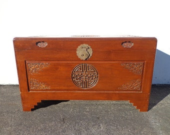 Asian Inspired Chinoiserie Trunk Coffee Table Hope Chest Blanket Bed Bench Wood Chinese Carved Wood Eclectic