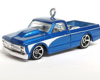 1967 '67 Blue Chevy C10 Pickup Truck Car Hot Wheels Ornament, Choose your Ornament Hook Style BettyGiftStore