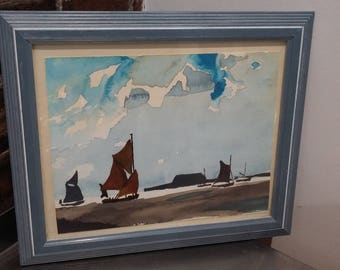 Original Watercolour of Boat and Sea in Blue Frame
