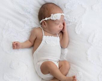 Newborn romper, newborn photo prop, newborn girl romper, photography prop newborn, preemie romper, newborn tieback, newborn