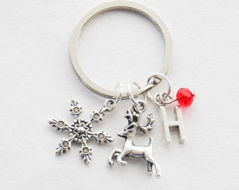 Christmas Keychain, Reindeer Keychain, Stocking Stuffer, Christmas Gift, Gifts under 20, Festive Keychain, Christmas Snowflake Keychain