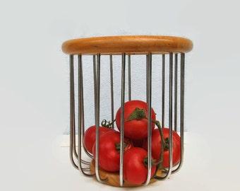 Danish Round FRUIT BASKET Modern Design Wood Steel  Serving basket