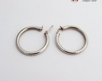 Striated Round Hoop Earrings Sterling Silver