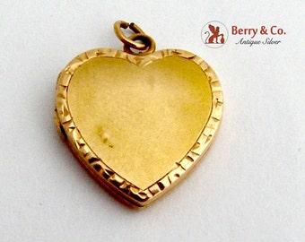 Vintage Heart Locket Pendant 14 K Gold