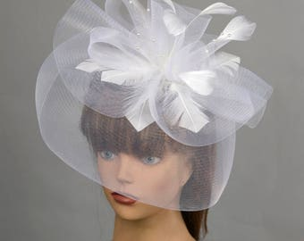 White Headband Hat Kentucky Derby Hat Party Headband Party Hat Women Hat Fascinator