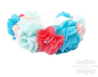 Pink Flower Crown Headband/Flower Crown Headband/Flower Headband Wedding/Baby Girl Headband/Girl Headband Baby/Toddler Headband/Baby Romper