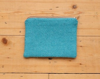 100% Wool Tweed Pouch - Turquoise - Zipped Accessory bag