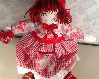 rag doll in traditional style,cloth doll,collectable doll.
