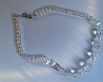 Lightweight Crystal Clear Lucite Bead Necklace with Silver Chain