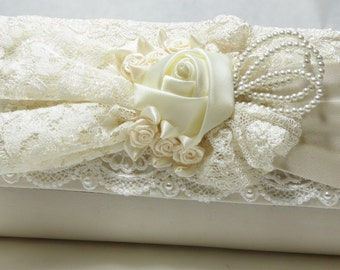 WeDDING Satin PURSE - IVORY Beaded Handle - Venise Ivory Trim
