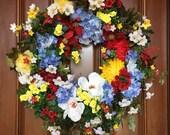 Farmhouse Garden Wreaths, Summer Magnolia Wreath, Farmhouse Wreath, Farmhouse Decor, Summer Front Door Wreath, Summer Wreaths, Etsy Wreaths