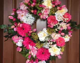 Wreath, Spring Wreaths for Front Door, Spring Wreath, Front Door Wreath, Wreaths, Peony Wreath, Front Door Decoration, Tulip Wreath
