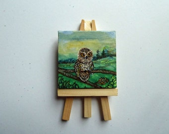 Owl painting, Mini canvas art, Nature painting, Owl Art, Miniature painting, Easel included, Bird painting, Mini card included