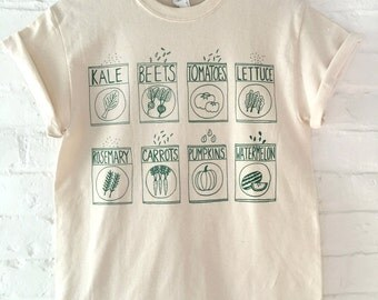 Garden T-Shirt, Food Shirt, Kale Shirt, Screen Print Shirt