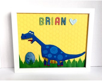 Dinosaur framed personalized, Baby Boy Blue Dinosaur wall Art