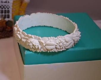 White Carved Celluloid  Bangle Bracelet with Floral Design