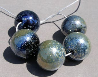 Hollow glass beads-Lampwork hollow beads-Silver glass beads