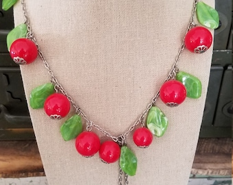 Vintage Large Beads and Leaves Cherry Blossom Long Larit Necklace