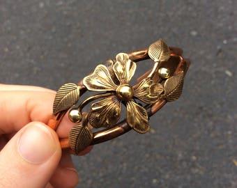 Vintage Genuine Copper Lovely Gold Flower Bracelet