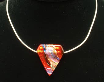 Fused Glass Pendant on Sterling Silver Cable Chain Necklace