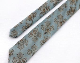 Dusty pastel blue corduroy tie. Men's necktie. Printed blue velvet tie. Royal baroque brown vines print