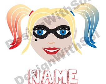 Harley Quinn customized with name of your choice available as file to print on iron on transfer paper