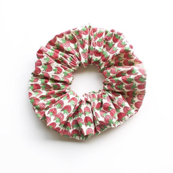 SRAWBERRIES vintage version.  Large Scrunchy or Scrunchie. Bright Hair Scrunchies. Women Hair Accessories, Retro Accessories