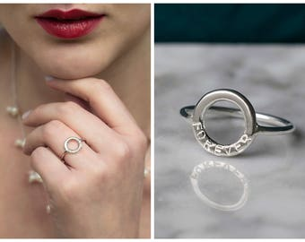 Forever ring, circle ring with word, jewelry with meaning, infinity ring, name ring, name ring - Juliet