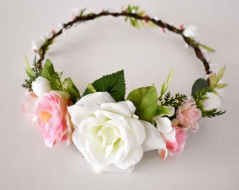 Pink floral crown. Pink and white flower crown. Pink wedding circlet. Pink and white bridal wreath. Pink bridal crown Boho wedding crown