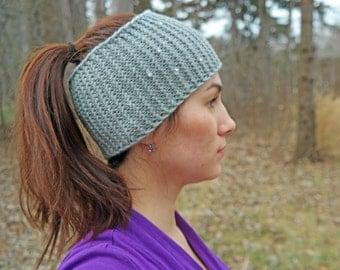 Messy bun hat-ponytail headband -Grey hat - ponytail bun hat- winter ear warmer-running hat-women hairwrap-workout band