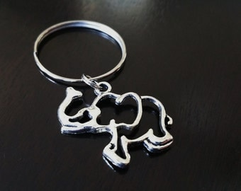 ONE Dollar Sale Closeout Antique Silver Elephant Key Chain