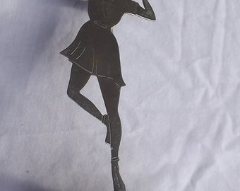Vintage Tennis Art Deco Lady Tennis Player with Racket Chrome Candelabra