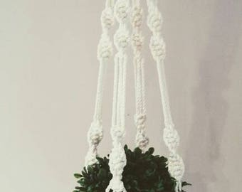 Macrame Plant Hanger, Boho Decor, Hippie Decor, Shabby Chic Decor, Pot Holder, Home Garden, Urban Garden, copper beads