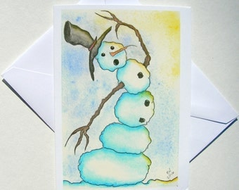 NEW - Set of 5 Blank Inside Note Cards - Finding Balance In The Sun - Snowman, Note Card, Art Card