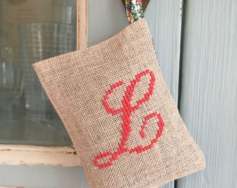 Handmade Cross Stitch Organic French Lavender Sachet Liberty of London Fabric