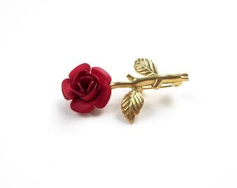Vintage Red Rose Brooch Rose Pin Vintage Brooch Vintage Pin Fairytale Jewelry Whimsical Rose
