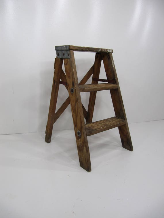 Vintage Step Ladder Wood Three Step Ladder Small Step Stool