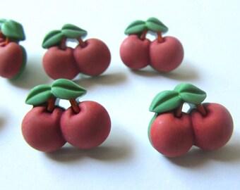 6 cherry buttons fofuchas , fofupen & 3d foam art, appliques, embellishments