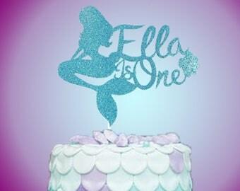 Mermaid Cake Topper, Mermaid Birthday Cake Topper,Personalized Cake Topper,Mermaid Party, First Birthday Cake Topper, Smash Cake, Photo Prop