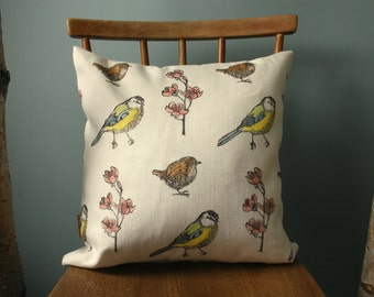 "Cushion Cover, Throw pillow cover,40 cm x 40 cm 16"" x 16"", Square, linen woven in UK, Bird and Flower Print, Blue tit and Wren with blossom,"