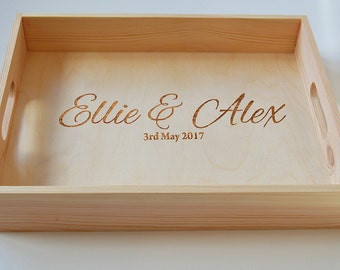 Personalised Wedding Wooden Tray, Breakfast Tray, Wedding Tray, Anniversary Gift Engraved, Valentines Gift 40x30cm