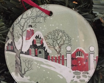 Glass Decoupage Christmas Ornament