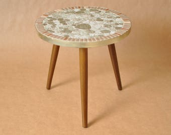 Nierentisch - Mid Century German coffee table - mosaic top - Round tripod table - boomerang table - 1950s - kidney table