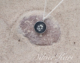SilverPaw, the small sized pendant on a chain, all in sterling silver