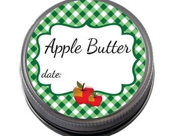 Apple Butter Gingham Canning Lids labels for favor, regular, or wide mouth lids