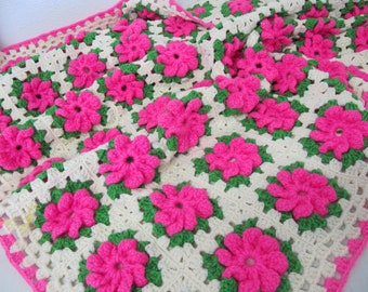 Granny Square Afghan Throw Blanket Boho Hippie Afghan Multicolor Afghan Mod FLOWERS