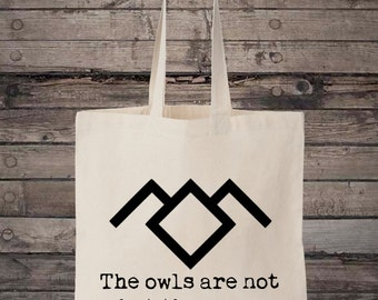 Black Lodge Owls Quote Peaks Cotton Shopping Tote Bag