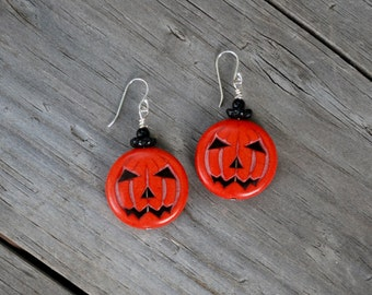 Jack-O-Lantern Earring, Halloween Pumpkin Earring, Halloween Accessory, Fall Pumpkin earring,  STERLING Silver EARWIRE